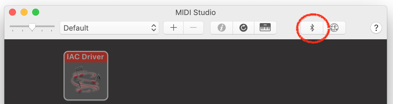 Figure 1. MacOS Audio MIDI Studio panel, showing the Bluetooth button