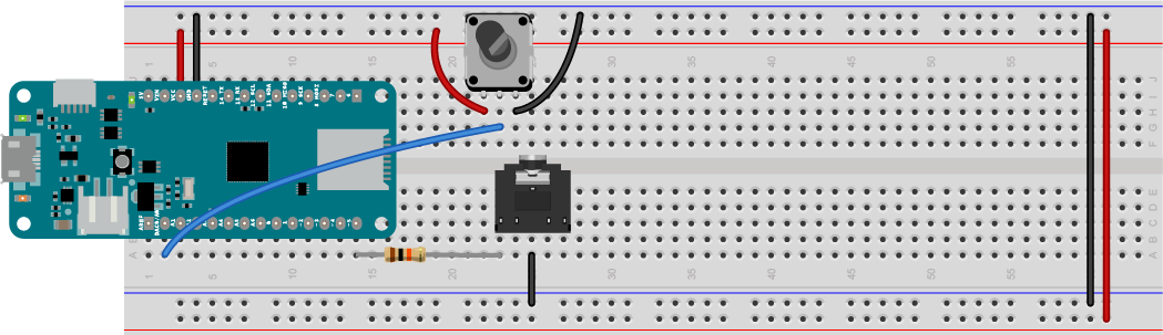 Figure 5. headphone jack attached to pin 5 and potentiometer attached to pin A0 of a MKR Zero