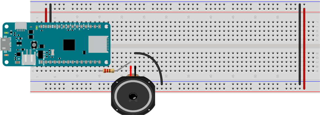 Figure 2. Speaker attached to pin 5 of a MKR Zero