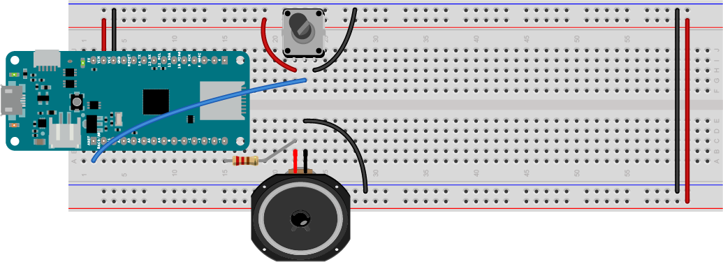 Figure 4. speaker attached to pin 5 and potentiometer attached to pin A0 of a MKR Zero